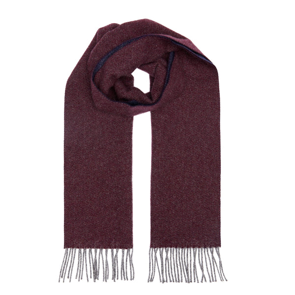 Two Toned Cashmere Fringe Scarf Forest Bordeaux/Navy