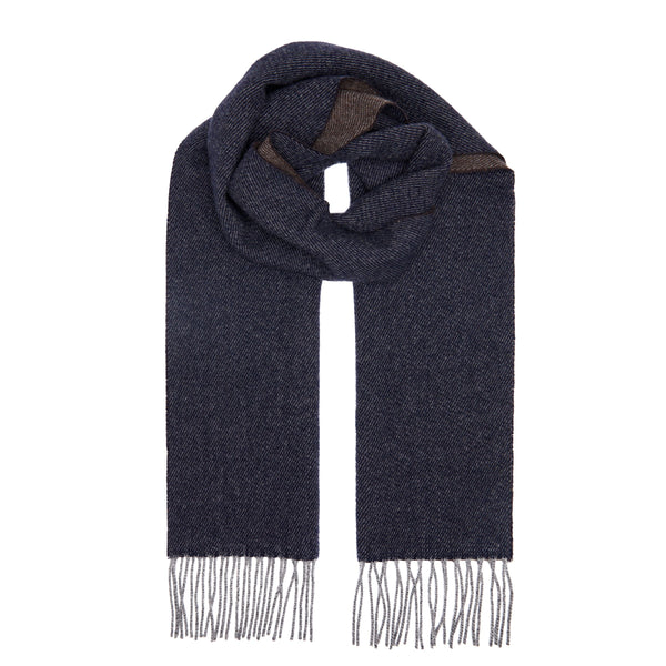 Two Toned Cashmere Fringe Scarf Forest Navy/Brown