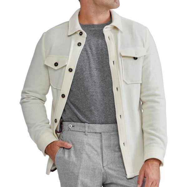 Ethan Wool Overshirt in Cream
