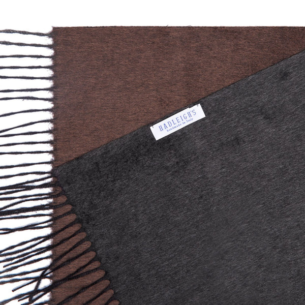 Two Toned Silk/Cashmere Fringe Scarf in Brown/Charcoal