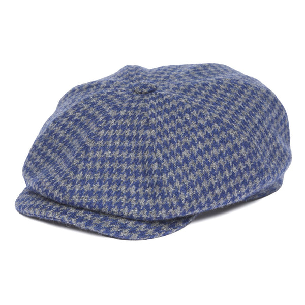Newsboy Cap in Blue Houndstooth
