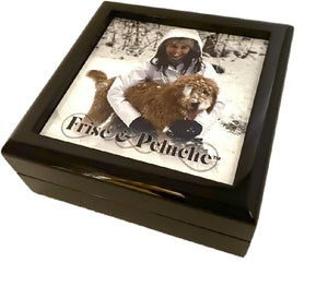 "GLOSS BLACK 5-3/8"" X 5-3/8"" WOODEN KEEPSAKE BOX  WB400-EA"