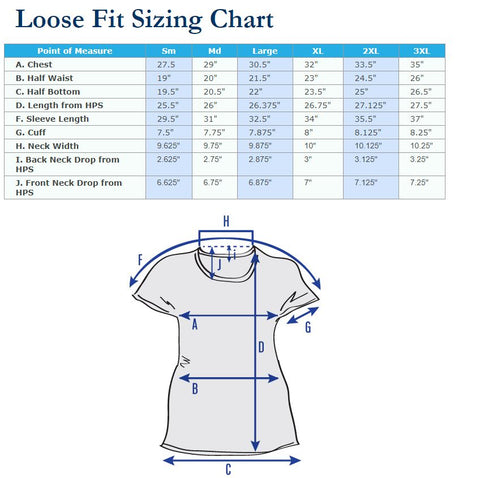 Loose Fit Made in America Ladies Top Size Chart