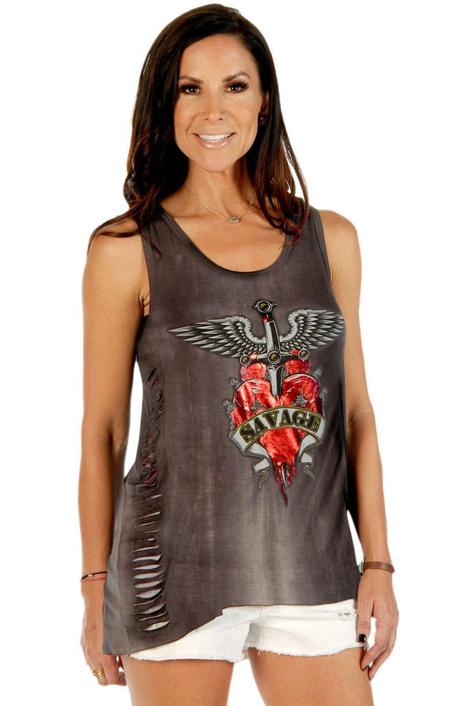 Savage Heart Loose Fit Lace Back Tank Top - The Biker Nation