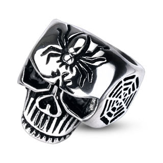 Black Widow Spider On Skull Biker Ring - The Biker Nation