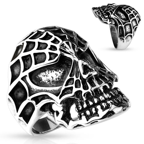 Spiders Web Skull Ring - The Biker Nation