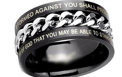 Black Chain Bible Verse Ring - The Biker Nation