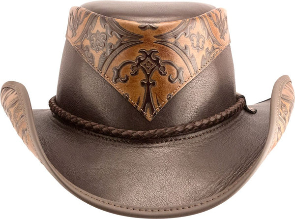 The Falcon Leather Western Hat - The Biker Nation