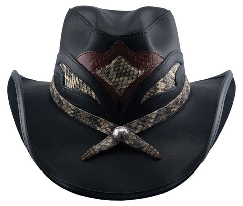 Storm Leather Western Style Hat - The Biker Nation