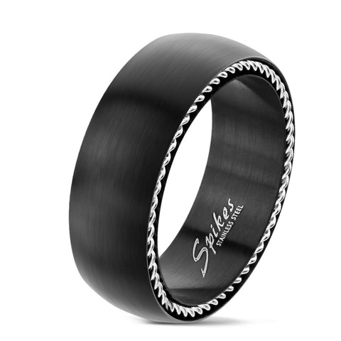 Grooved Centered Line Stainless Steel Ring - The Biker Nation