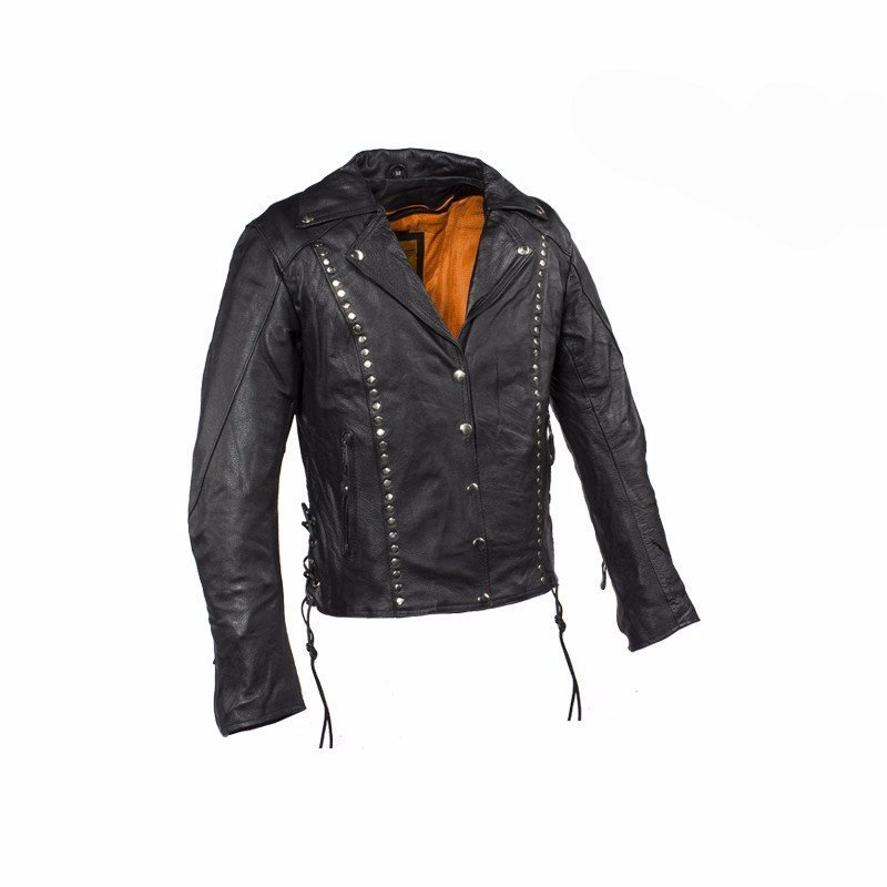 Studded Leather Concealed Carry Jacket for Women - SMALL - The Biker Nation - 1