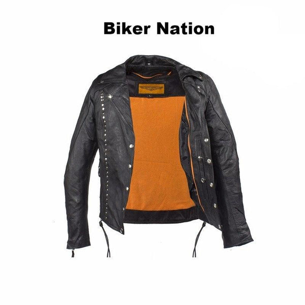 Studded Leather Concealed Carry Jacket for Women -  - The Biker Nation - 3