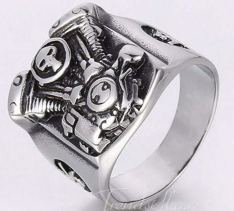 Silver Tone Motorcycle Engine Skull Ring - 10 - The Biker Nation