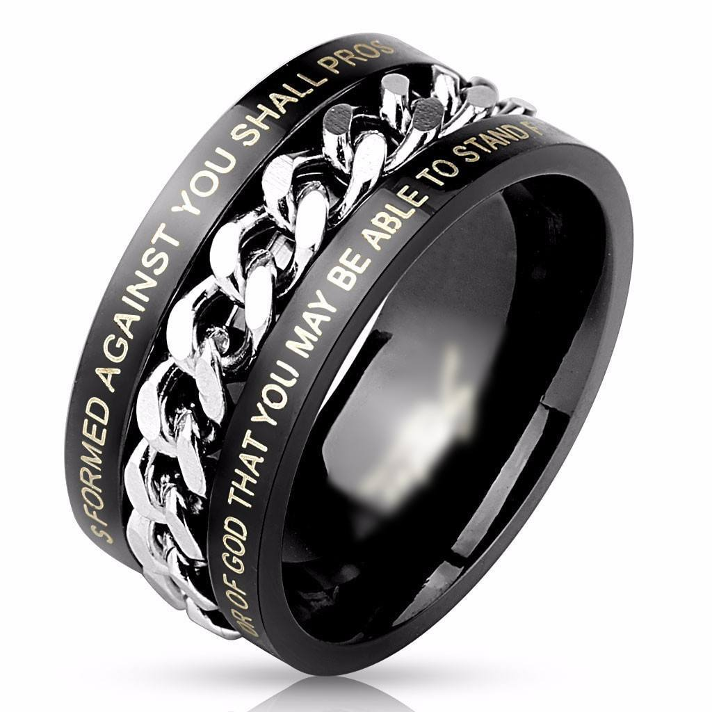 Black Chain Bible Verse Ring - 9 - The Biker Nation