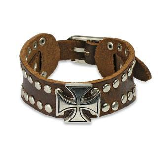 Brown Leather Celtic Cross and Studs - 7.28-8.46 / Brown - The Biker Nation
