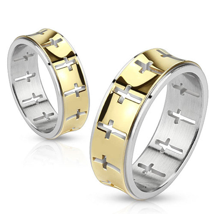 Cut Out Crosses On Gold IP Stainless Steel Ring -  - The Biker Nation
