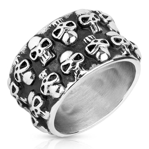DOUBLE UP SKULLS RING - 9 - The Biker Nation