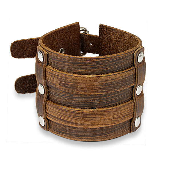 Doublewide Buckle Black Leather Bracelet - 7.28-8.46 / Brown - The Biker Nation - 2