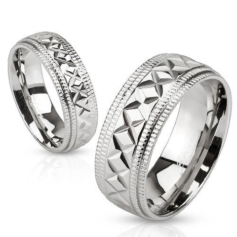 Etched Band Ring - 5 / Silver - The Biker Nation