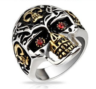 Gold and Silver Skull Death's Head Ring - 09 / gold/silver - The Biker Nation