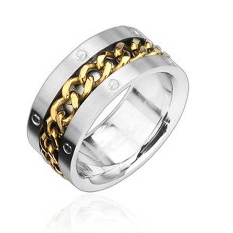 Gold Chain Spinning Ring - 9 - The Biker Nation