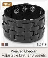 Medievel Weave Black Leather Bracelet - 7.28-8.46 / Brown - The Biker Nation - 1