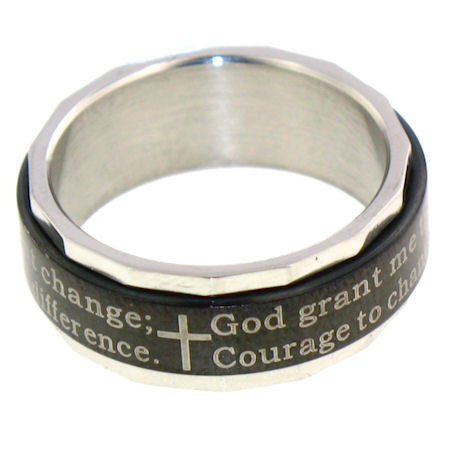 Serenity Prayer Spinning Ring - 06 / Black - The Biker Nation