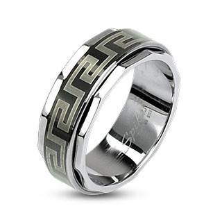 Stainless Black Maze Spinner Ring - 9 / Chrome - The Biker Nation