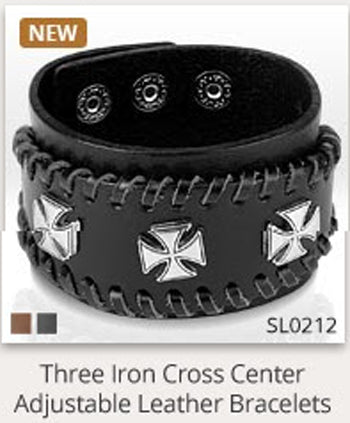 Triple Iron Cross Black Leather Bracelet - 7.28-8.46 / Black - The Biker Nation - 1