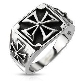 Triple Iron Cross Ring - 9 / Stainless - The Biker Nation