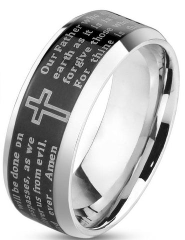 Lords Prayer New Black - 06 / Blk/Slvr 6mm - The Biker Nation