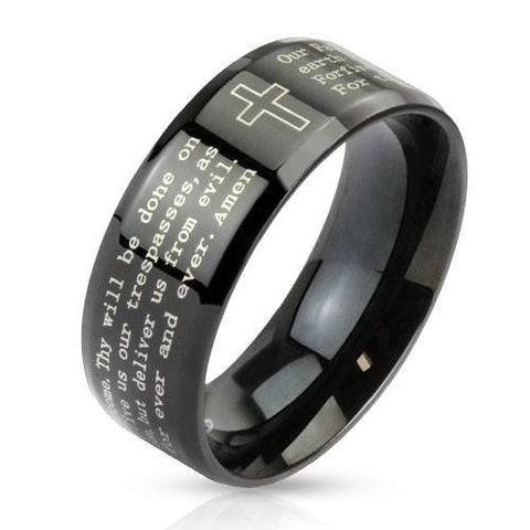 Lords Prayer Ring - 05 / Black - The Biker Nation