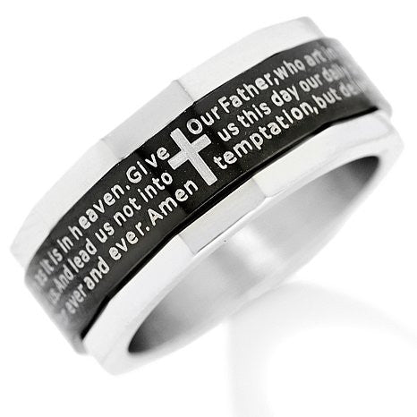 Lords Prayer Silver/Black Spinner - 10 / Black/Silver/Spinner - The Biker Nation