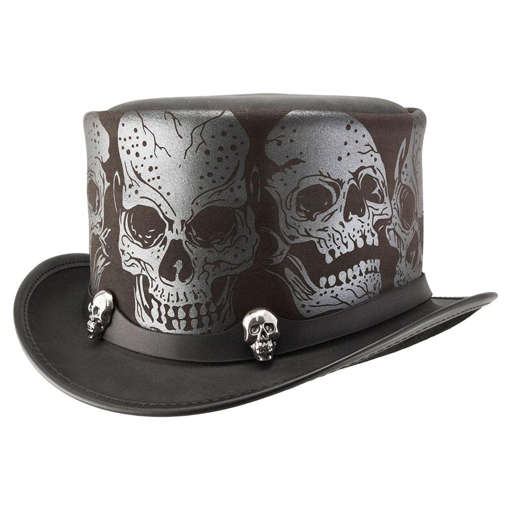 Silver Skull Top Hat - The Biker Nation