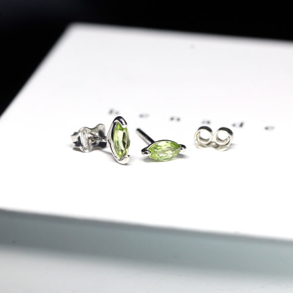 Bena Jewelry gemstone stud earrings peridots marquise shape silver jewelry fir Ruby Mardi boutique Saint Zotique Little Italy Jeweler Made in Canada