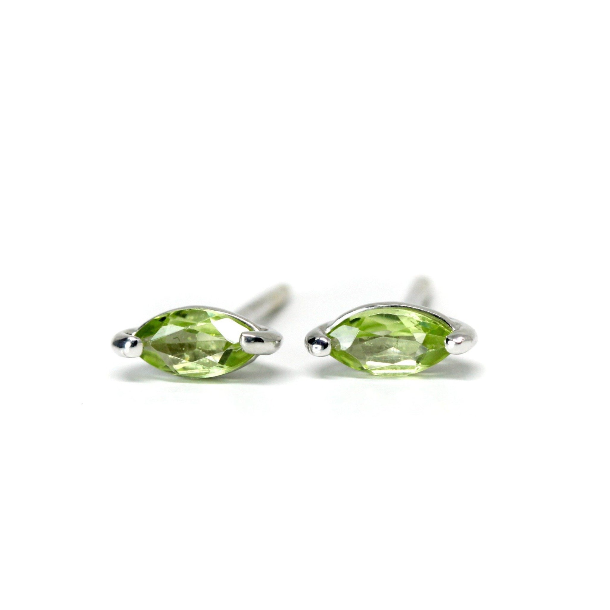 Bena Jewelry peridot marquise shape stud earrings green natural gemstone for Ruby Mardi Montreal Made in Canada