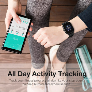 With this smart watch you can track your fitness progress all day like your step count, calories burned and excercise time.