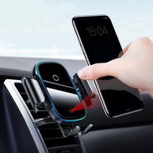 2-IN-1 Design Combines the Qi Wireless Charger and a car phone holder.Wireless car charger offers fast charging for your phones and save you from the messing with cables and cases while driving. hen your phone is fully charged, the wireless car charger will automatically power off and protect the battery of your phone. International Qi Alliance Certification, safe and quick charging, never damage your phone