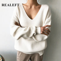Long Sleeve V-Neck Minimalism Knitted Sweater