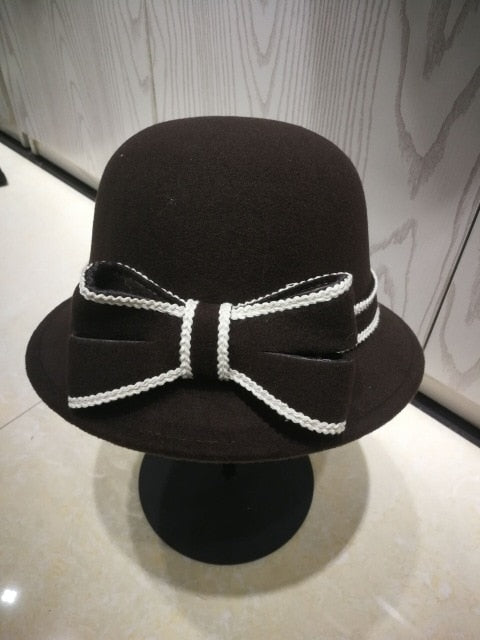 Women Imitation Wool Felt Bucket Hat