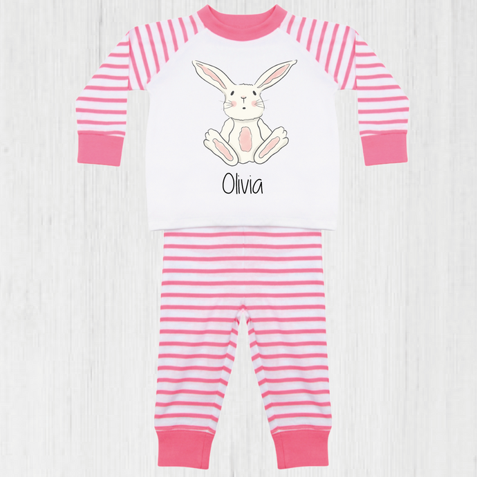 Sat Down Personalised Pink Striped Bunny Pyjama Set (upto 4 years)