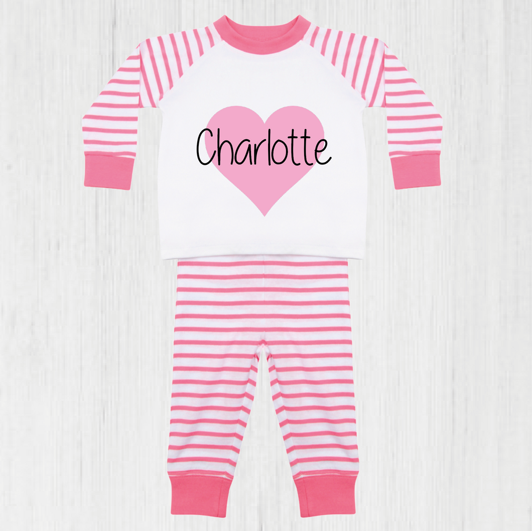 Love Heart Striped Pyjama Set (upto 4 years)