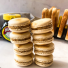 Stack of Marmite Macarons with Toast & Jar of Marmite