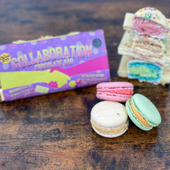 Macarons inside a chocolate bar - The Chocolate Smiths and The March Hare Bakery Collaboration