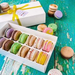 Box of 12 Taste of Britain Macarons with Yellow Ribbon in White Box