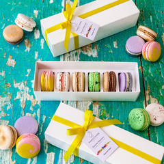 Box of 6 Taste of Britain Macarons with Yellow Ribbon in White Box