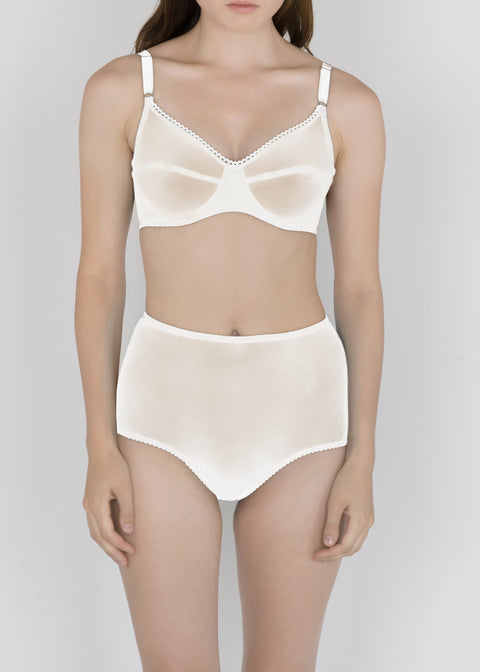 Sheer French Tulle High Waist Brief in Neutral Tones