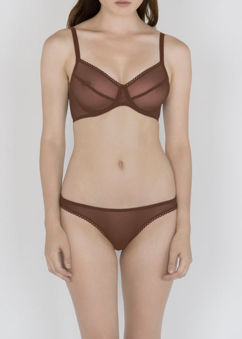 Sheer French Tulle Underwire Bra in Neutral Tones