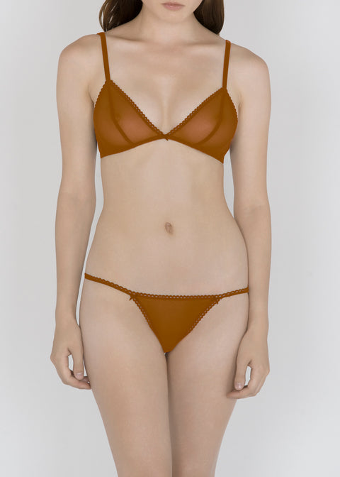 Sheer French Tulle Triangle Bra in Neutral Tones