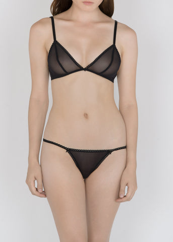 Sheer French Tulle Triangle Bra in Basic and Fluorescent Colors